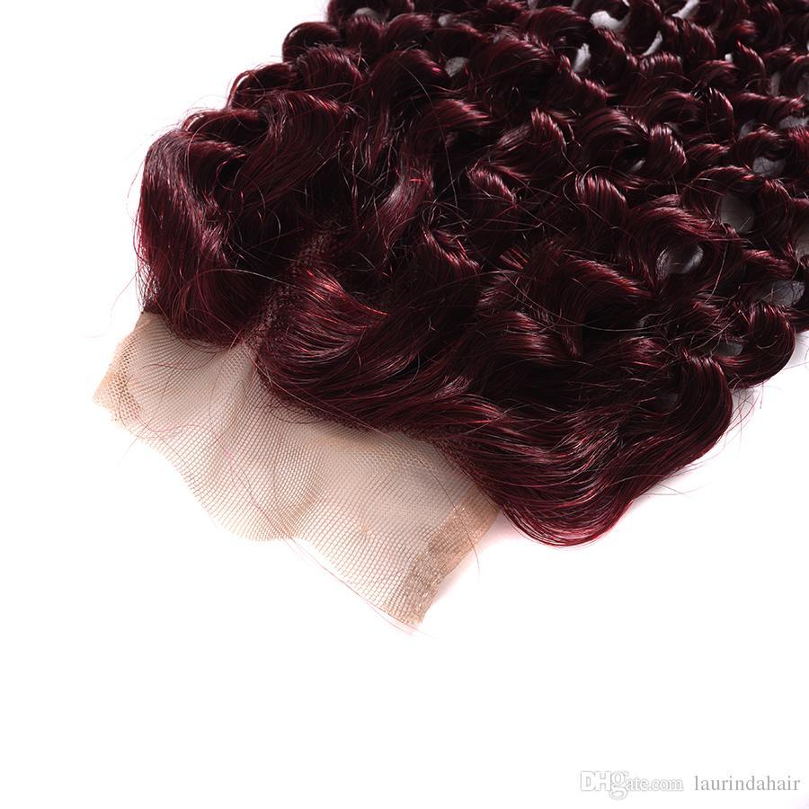 Burgundy Virgin Brazilian Human Hair Weaving Tight Deep Curly Wine Red Hair Weave 99J Kinky Curl Hair Bundle Deep Wave With Closure