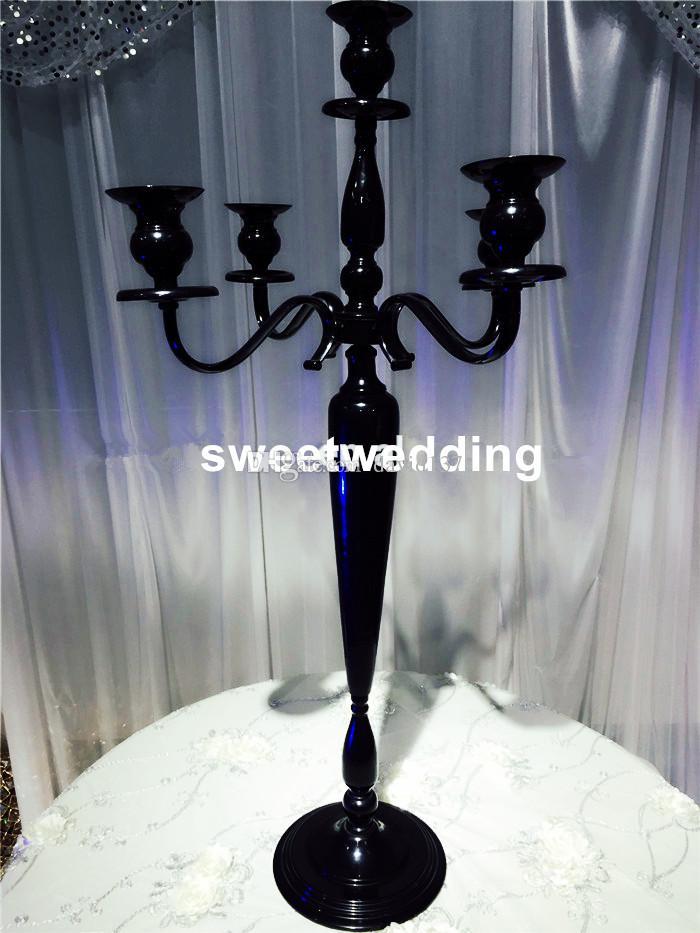 candelabro nero cristallo con fioriera 09