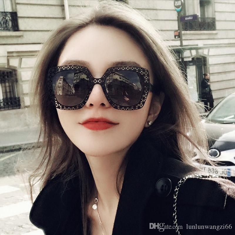 d7e89e4c4 Compre Popular Preto Oco Out Moldura De Aço Inoxidável Mulheres Quadrado  Óculos De Sol Moda Ladies Black Lens Glasses Uv400 De Lunlunwangzi66, ...
