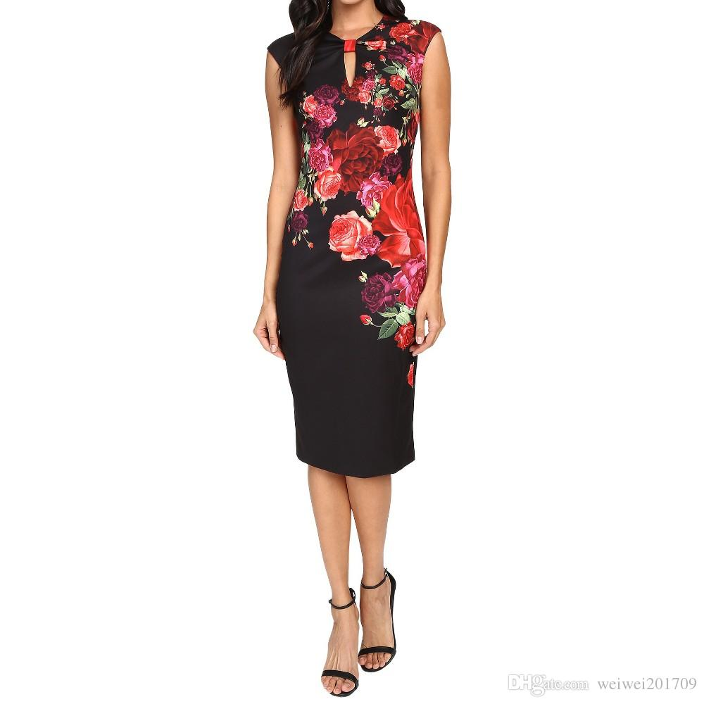 0b5dddb8092 2018 New Arrival High Quality 2017 Summer Autumn Juxtapose Vintage Rose  Printed Floral Black Women Bodycon Dresses Midi Calf Length Plus Size From  ...