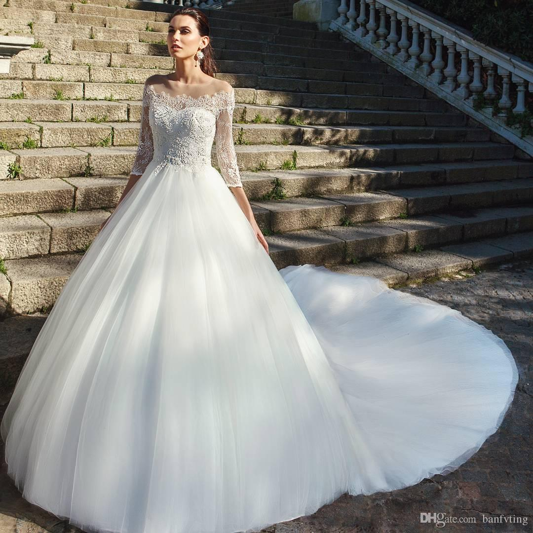 Discount New Unique Wedding Dresses A Line Sheer Scoop Neck Bridal ...
