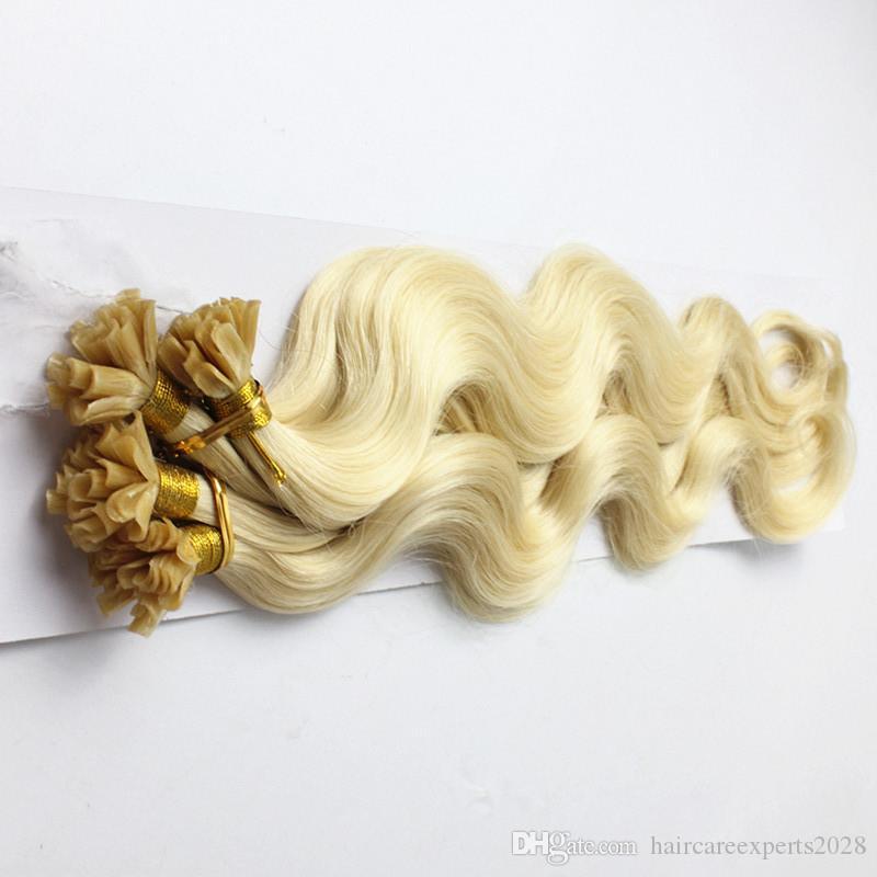 Nail / U Tip # 613 Brésilien Remy Hair Platinum Blonde Corps Ondulés Micro Bead Loop Ring Extensions de Cheveux 0.8g / s /