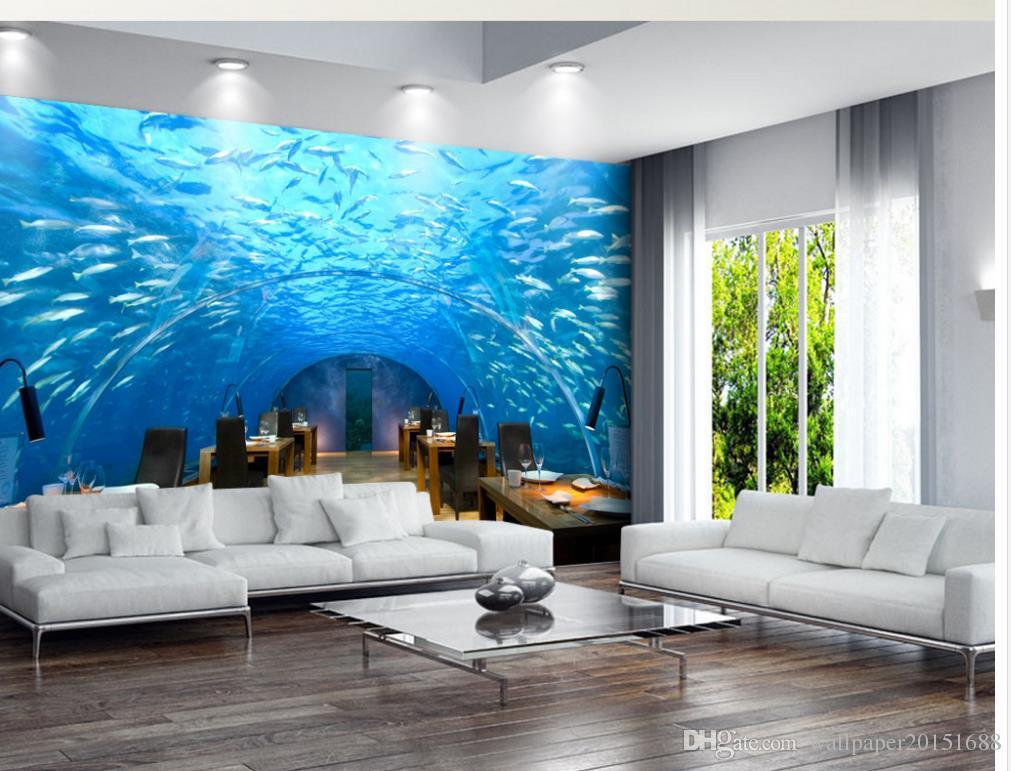 Underwater World Corridor TV Telón de fondo mural wallpaper 3d papeles de pared 3d para telón de fondo de televisión
