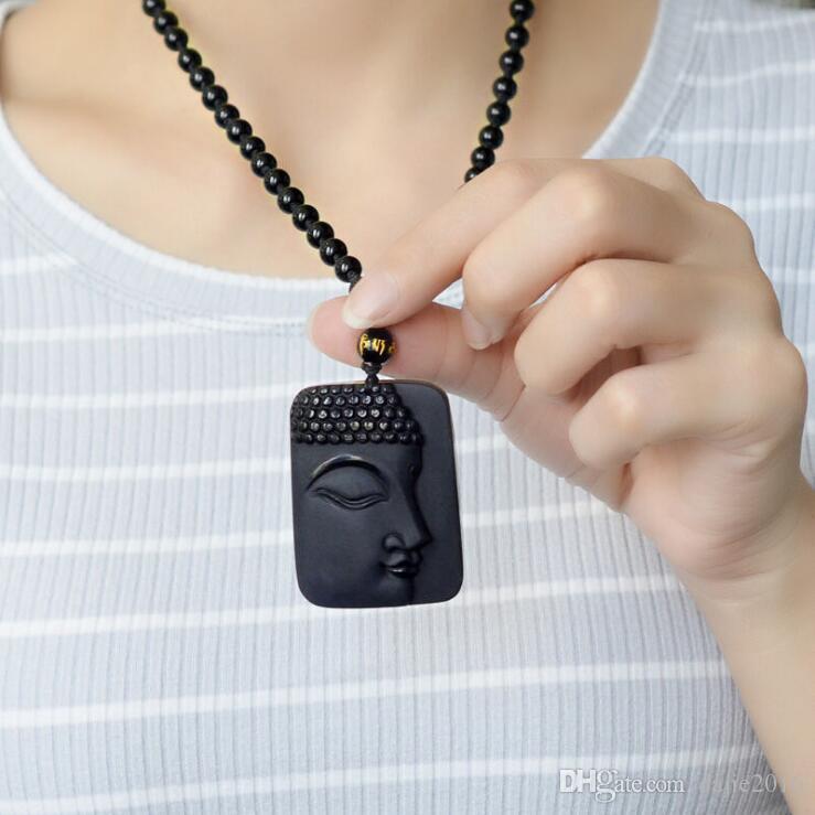 DJ Schmuck natürliche Obsidian Stein Top Mode Kristall Anhänger Buddha Buddha Kopf Halskette Anhänger Geschenk für Männer und Frauen