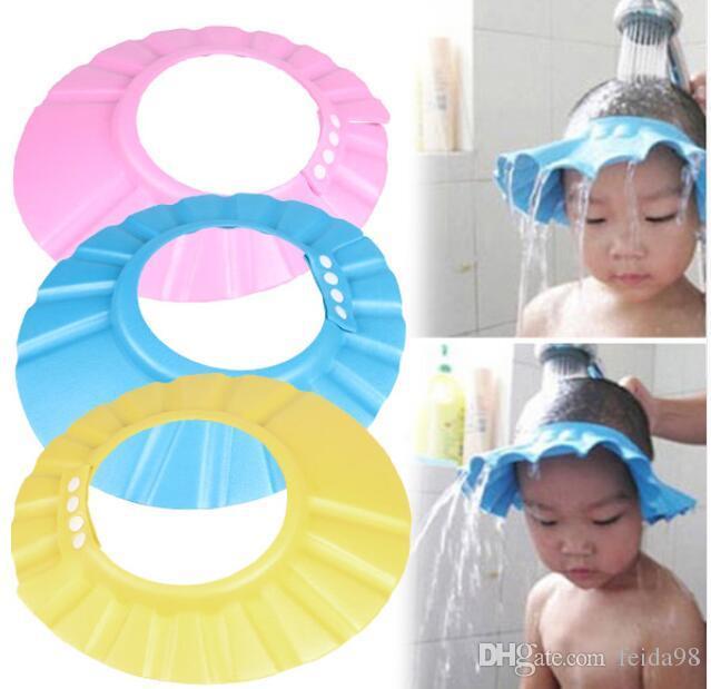 Bébé Enfants Shampoo Cap Réglable EVA Mousse Bain Douche Cap Hat Cheveux Bouclier Rose / Bleu / Jaune G588