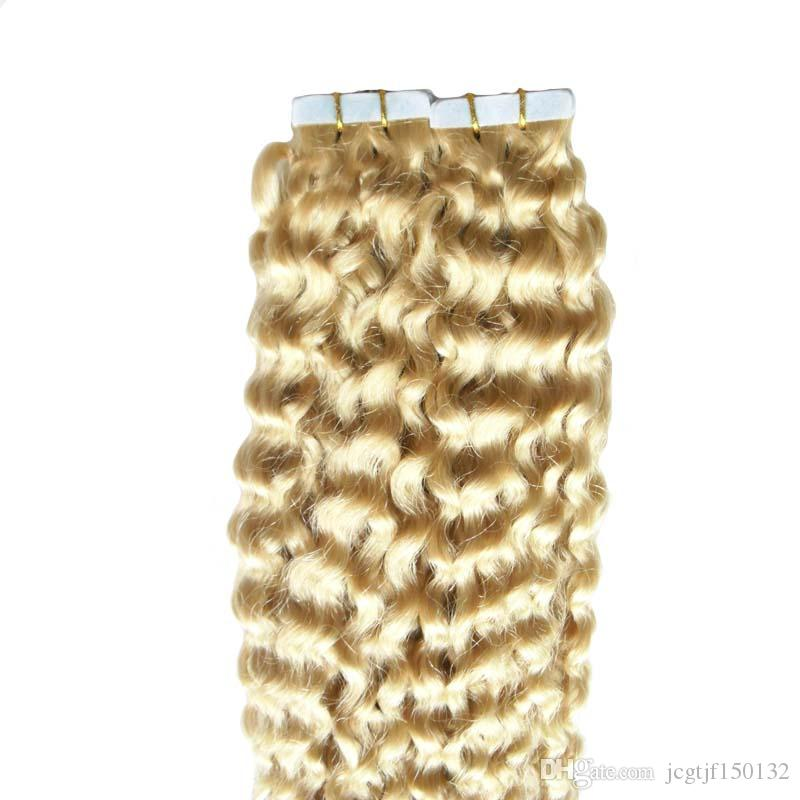#613 Bleach Blonde tape human hair extensions 16-26inch PU Skin Weft Tape Human Hair Extension Human Tape in kinky curly 100g
