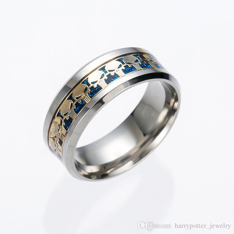 skull Stainless Steel Rings Wedding Band Ring for unisex women men gift jewelry Men's Movie Superman Logo Ring Drop Ship 080182