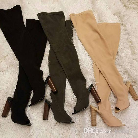 47cc3034d65 Women Stretch Suede Leather Slim Thigh High Boots Sexy Open Toe Fashion  Over The Knee Boots High Heels Woman Shoes Black Gray Green Wine Red Sexy  Shoes ...