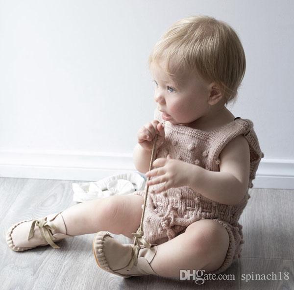Ins Primavera Outono Infantil Do Bebê de Malha Macacão Meninos Meninas Malhas Macacão Camisola Romper Crianças Crianças Subir Roupas 3 Cores 3056