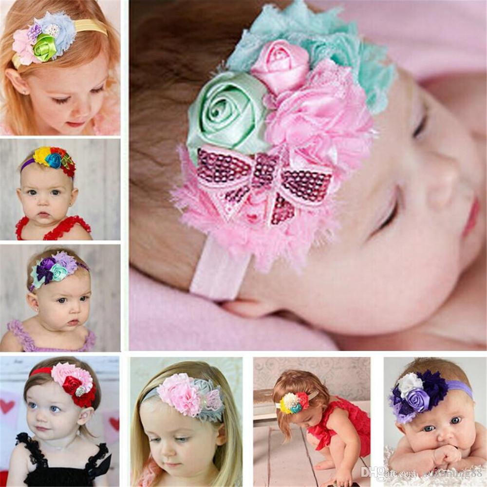 Hair Accessories 1 Pc New Kids Rhinestone Headband For Photo Props Newborn Girls Headband Flower Hair Bands Beautiful Newborn Hair Accessories
