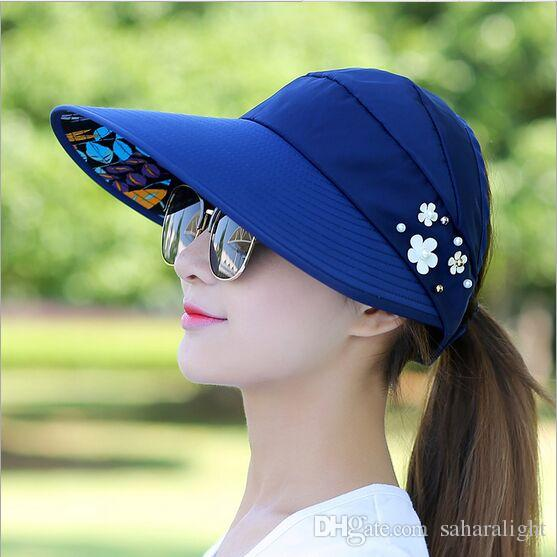 c7f41911235 2017 Fashion Design Flower Size Adjustable Brimmed Sun Hat Summer Hats For  Women Outdoor Uv Protection Ht51183+35 Fedoras Beanie Hats From  Saharalight
