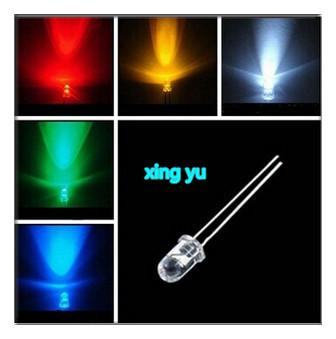 Wholesale- 500pcs 3mm New Round Ultra Bright Red/ Green/Blue/Yellow/White Water Clear LED Light Lamp kit