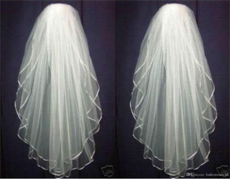 Yeni Beyaz veya Fildişi Düğün Gelin Peçe Dirsek Gelin Gelin Uzunluğu Aksesuarları Tarak ile Saten Kenar