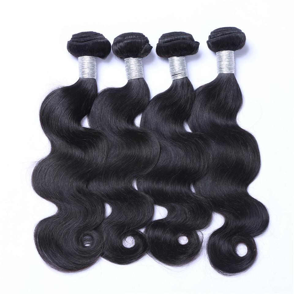 البرازيلي الجسم موجة عذراء الشعر ينسج مع 4x4 الدانتيل إغلاق غير المجهزة ريمي الشعر الإنسان ينسج مزدوجة لحمة الطبيعية اللون الأسود 4 قطعة / الوحدة