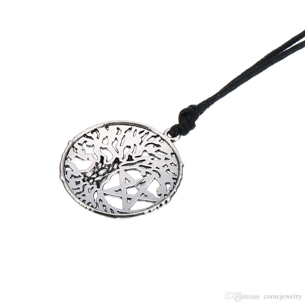 Lastest Style Hexagon Shape Jewelry Viking Runes Talisman Tree of Life Pendant Kabbalah Vintage Necklace