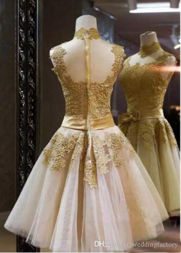 Mooie gouden cocktail jurken A-lijn hoge nek lint bloemen appliques pure back korte homecoming feestjurken