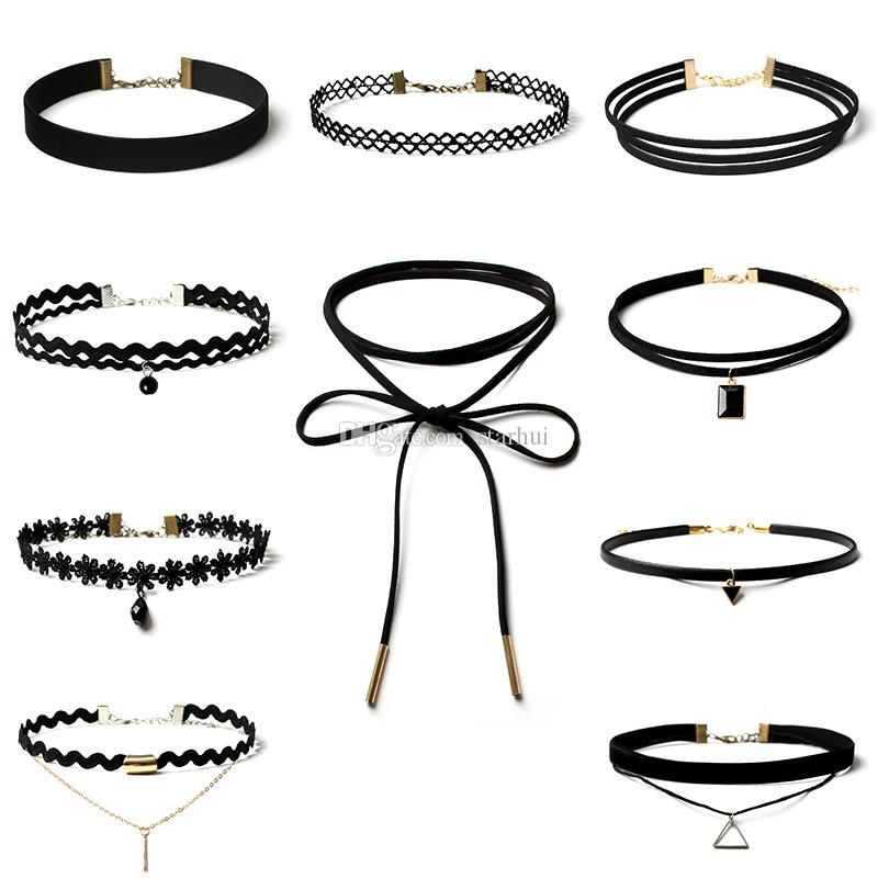 Collier Mode Vintage Stretch Perle Velours Collier Ras Du Cou Gothique Punk Grunge 80 s 90 s Noir Velours Tattoo Chokers / ensemble WX-N33