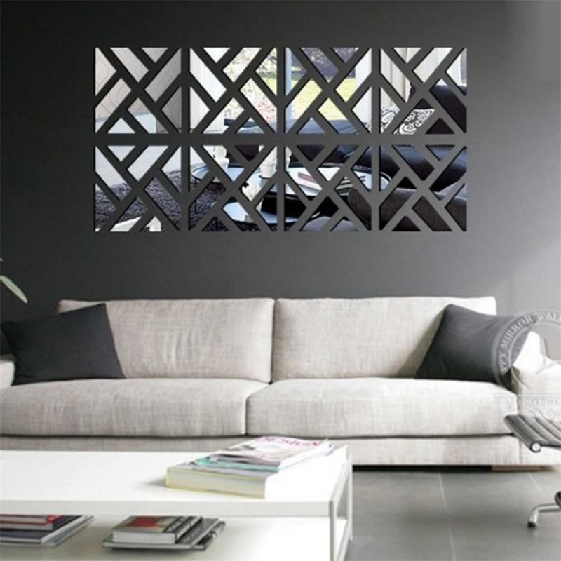New 3d acrylic mirror wall stickers square living room bedroom background art - Decoration mural en metal ...