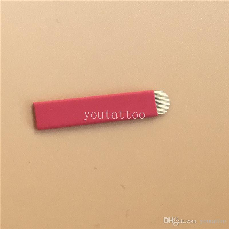 100 STÜCKE Rot 18 Pin Microblading U Form Augenbraue Tattoo Permanent Make-Up Manuelle Klinge Für Stickerei Manuelle Tattoo Pen