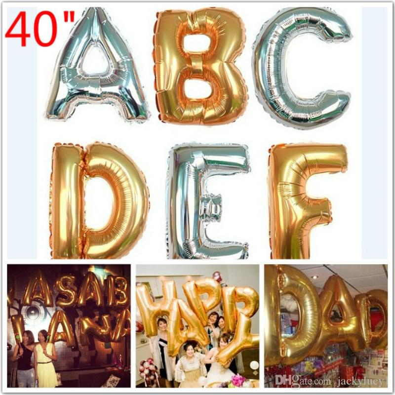 40inch Letter Balloons Jumbo Mylar Baloes Gold Silver Letters Air