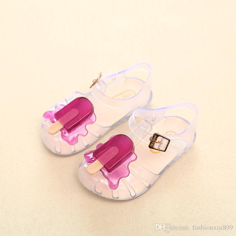 2018 Yeni Çocuklar Için Mini Melissa Jöle Sandalet Bebek Kız dondurma Çocuk Yaz Sevimli Karikatür Plaj Ayakkabı Infantil Sandalia