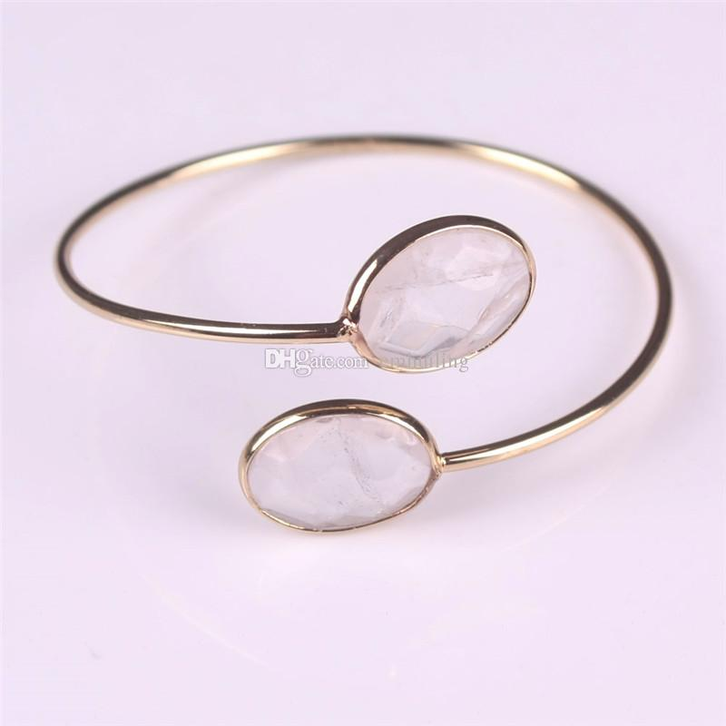 Purple Amethyst Crystal Clear Rose Quartz Turquoise Bangles Natural Facet Oval Stones Carnelian Beads Gold Plated Bangle Femme Jewelry Mujer