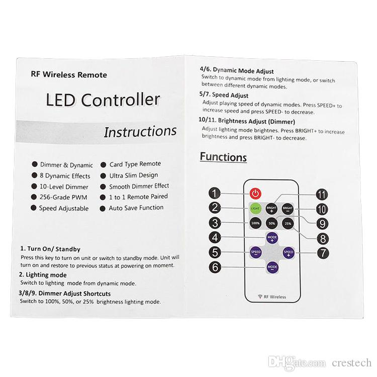 LED Mini Dimmable Control Dimmers light Controller Switch Dimmer RF Wireless Remote Control DC 5~24V 12A For LED Strips Light