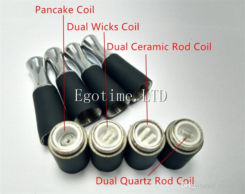 Wax Skillet Atomizer Dual Ceramic Quartz Rod Pancake coil head 510 skillet wax atomizer skillet atomizer VS Cannon Glass Globe tank