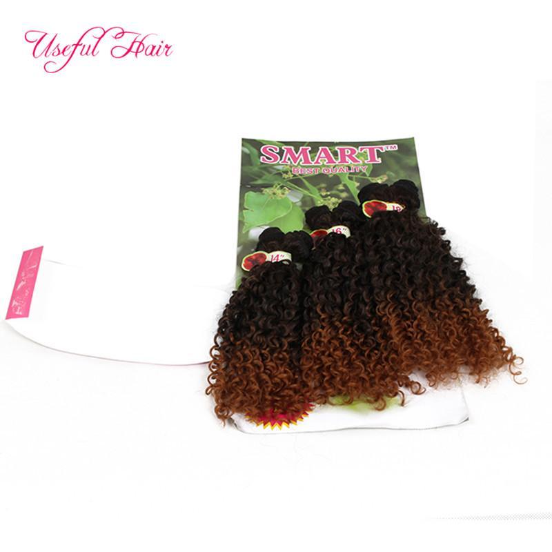 6 pz / lotto sintetico intrecciare i capelli biondi estensioni ricci crespi, onda allentata ombre capelli bordeaux intrecciare i capelli estensioni dei capelli le donne nere