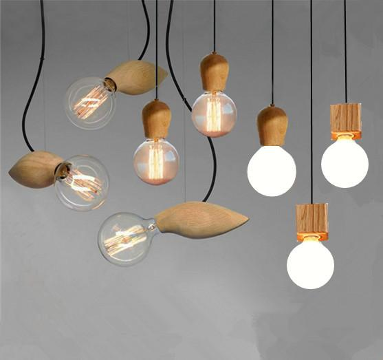 Edison Native Wood Handmade Muuto E27 Bulbs Wooden Bar Chandelier