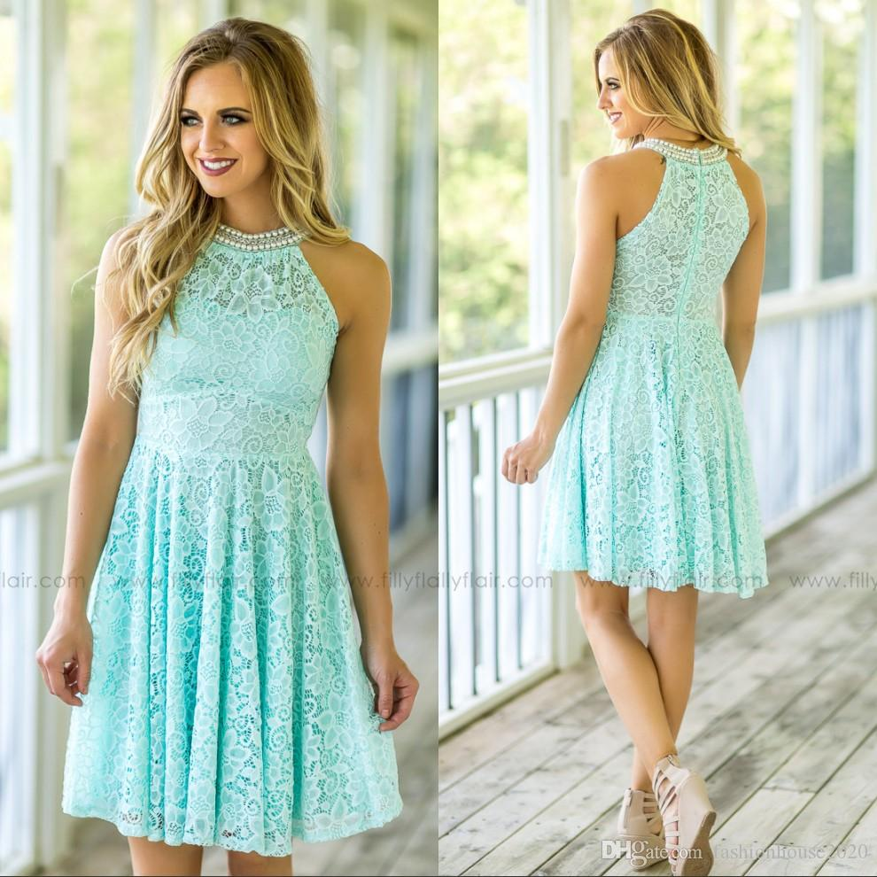 Light Sky Blue Lace Short Bridesmaid Dresses Halter Neck Pearls ...