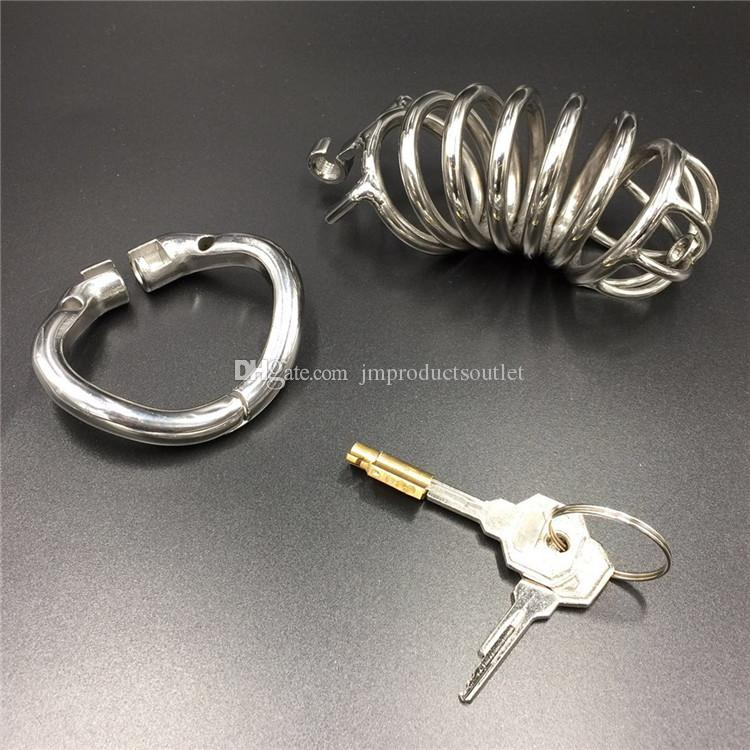 2017 New snap ring design 304# stainless steel 100mm metal chastity cb devices long cock cages for bdsm HBS062