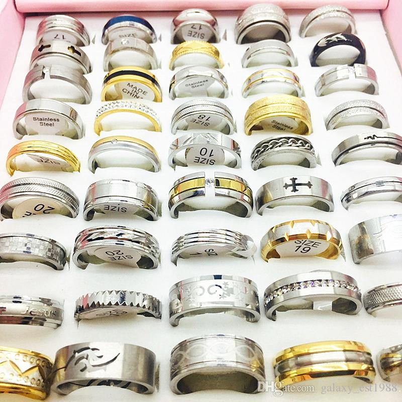 2017 wholesale bulk lots 50pcs/lot mixed styles men's women's fashion jewelry finger rings brand new