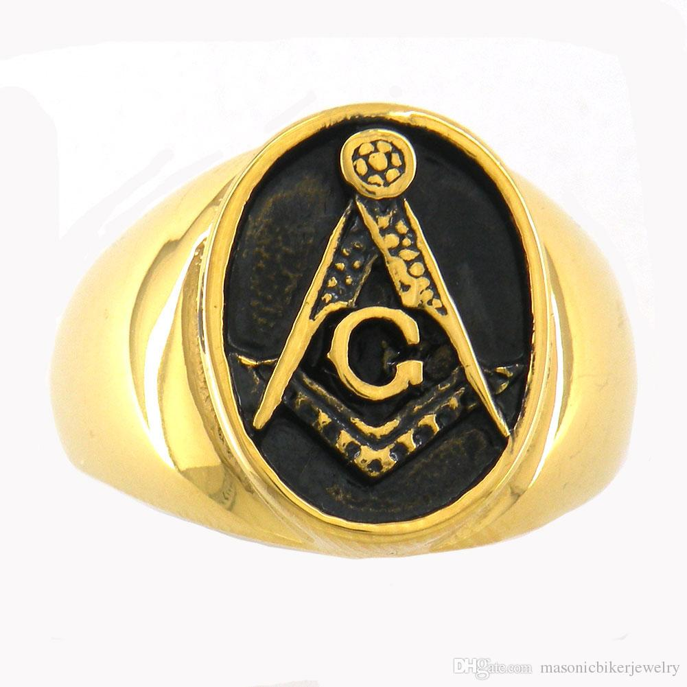 Custom made stainless steel mens or wemens jewelry free masonary blue lodge  master mason masonic rings brothers sisters gift 7W81G