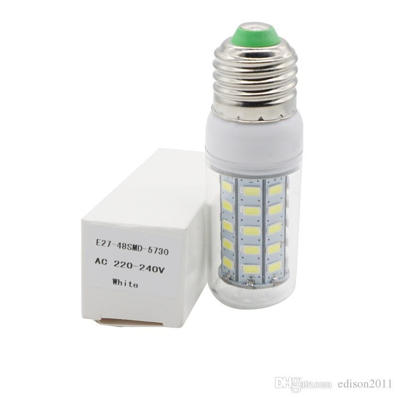 Edison2011 Ultra Bright 5730 SMD 48 LED Maïs Ampoule E27 E14 GU10 G9 Base 110V 220V Chaud Pur Blanc Éclairage LED