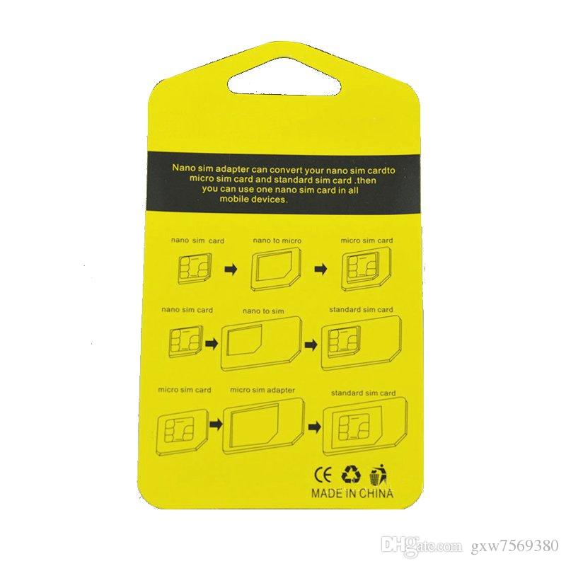 5 in 1 Metal Nano SIM Card to Micro Standard Adapter Converter Set For iPhone 4 4s 5 5c 5s 6 6s Samsung