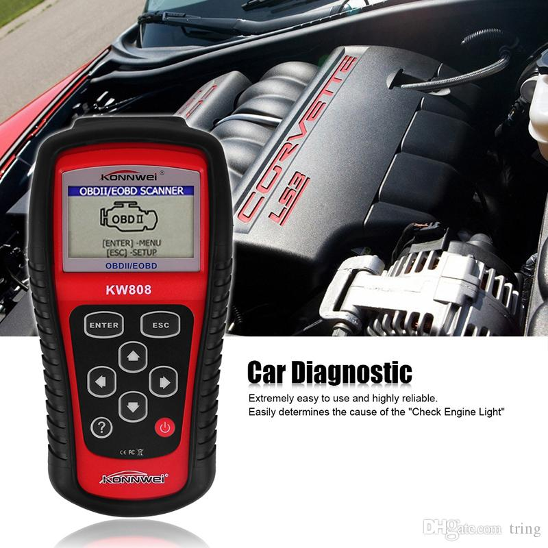 KW808 Strumento diagnostico del veicolo OBD2 OBDII LCD Scantool Auto Truck Scanner diagnostico Computer Vehicle Fault Code Reader Scan