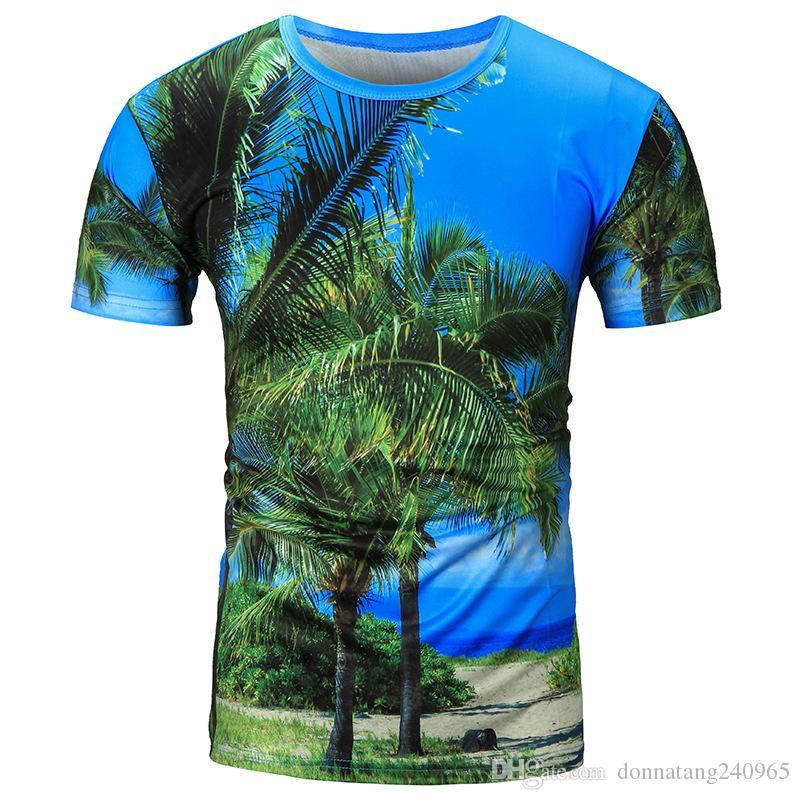 db1bbefec0 Hot Sale New Fashion Mens Funny Coconut Tree 3D Sublimation Print T-shirts  Plus Size Poloshirt Shirt Men