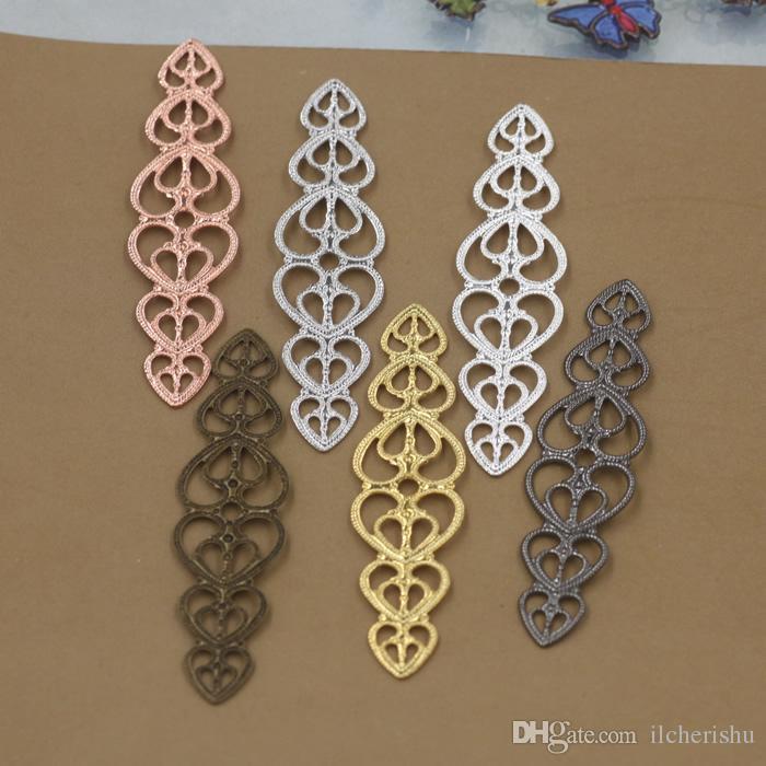 07871 15*57mm antique bronze/silver/rose gold/gun black bendable filigree flower charms for jewelry making, metal bracelet necklace pendants