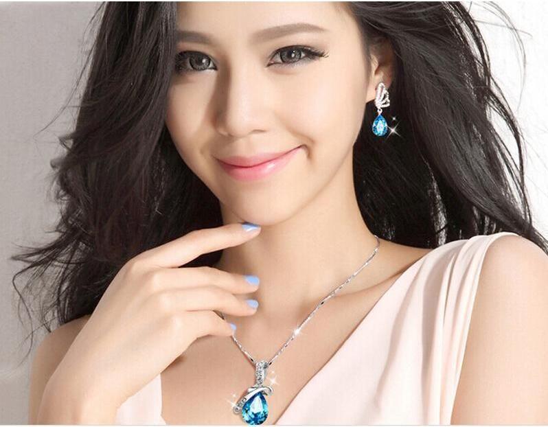 Wholesale Price Fashion Jewelry Sets Angel Tears Austrian Crystal Jewelry Sets for Women Made With Swarovski Elements Wedding Jewelry