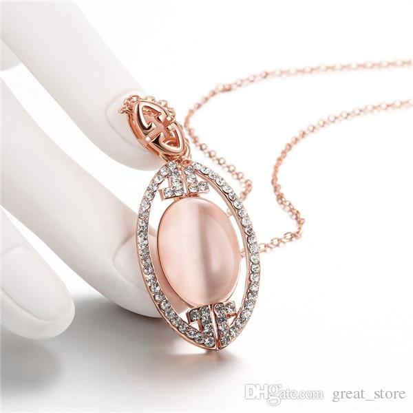 Good A++ mosaic 18k gold jewelry necklace fit women GGN899,Yellow Gold White gemstone Pendant Necklaces with chains