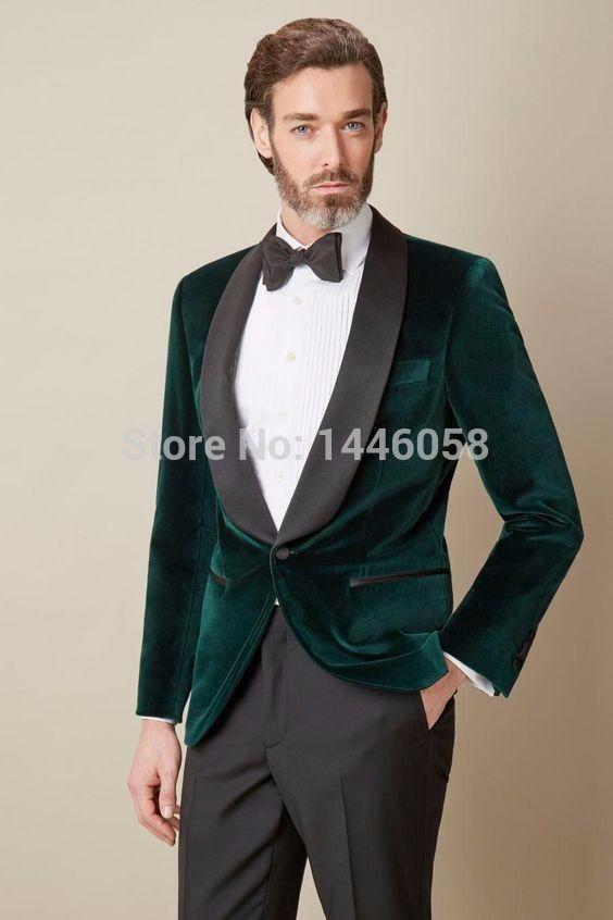 2019 Wholesale 2017 Mens Velvet Blazers Custom Made Dark Green