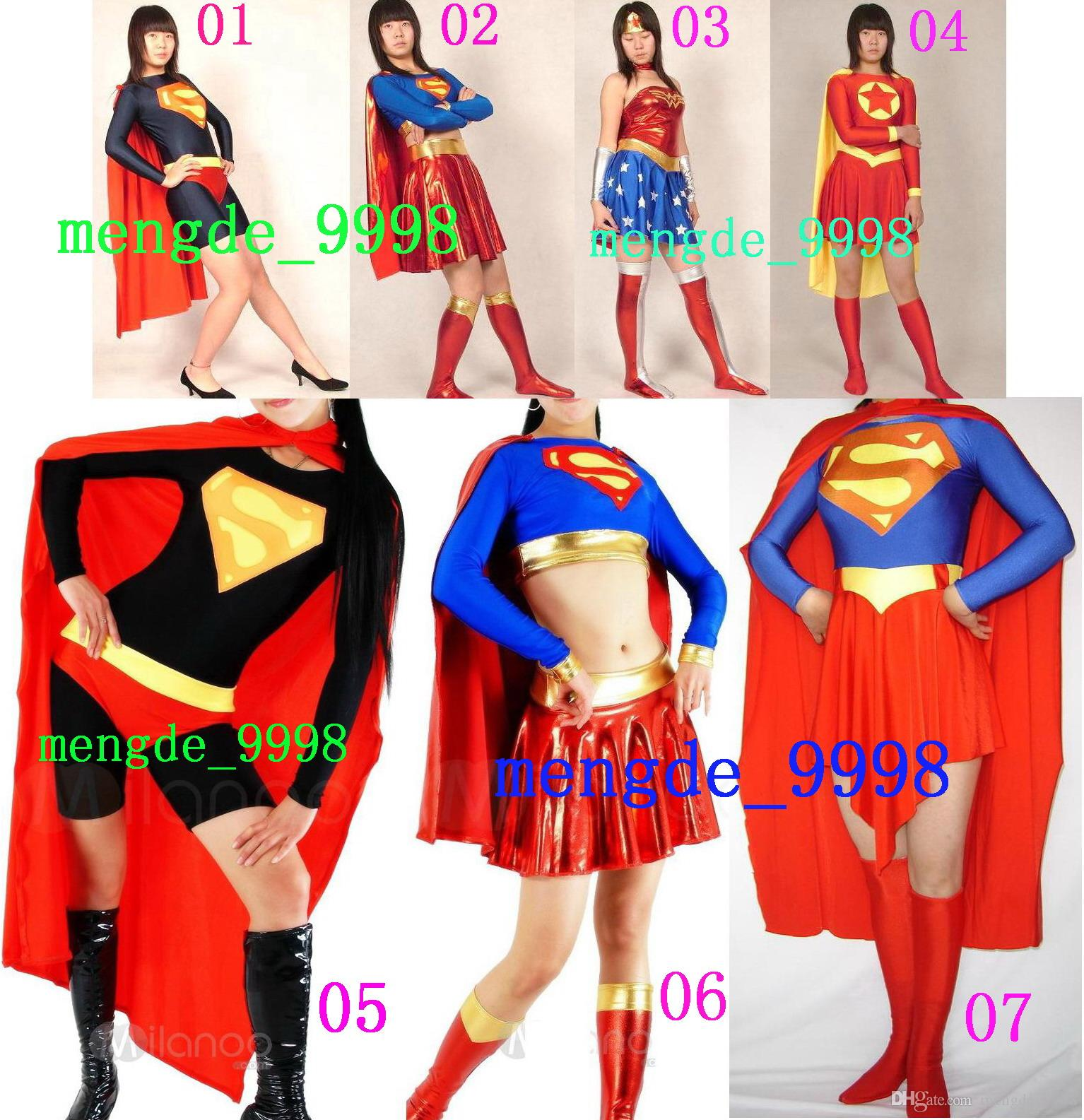 sexy superwoman suit costumes 7 style lycra spandex superwoman dress costumes with cape sexy super woman dress halloween cosplay suit m214 halloween - Halloween Costumes For 7