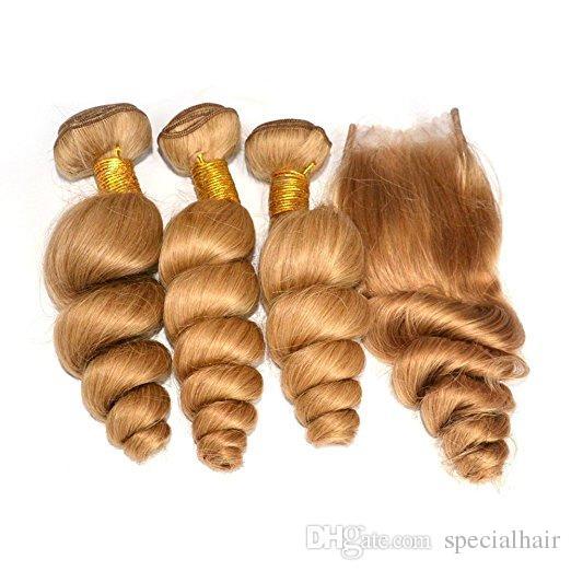 Оптовые бразильские светло-коричневые человеческие волосы утки с закрытием рыхлой волны #27 мед блондинка девственные волосы 3Bundles с 4x4 кружева закрытия