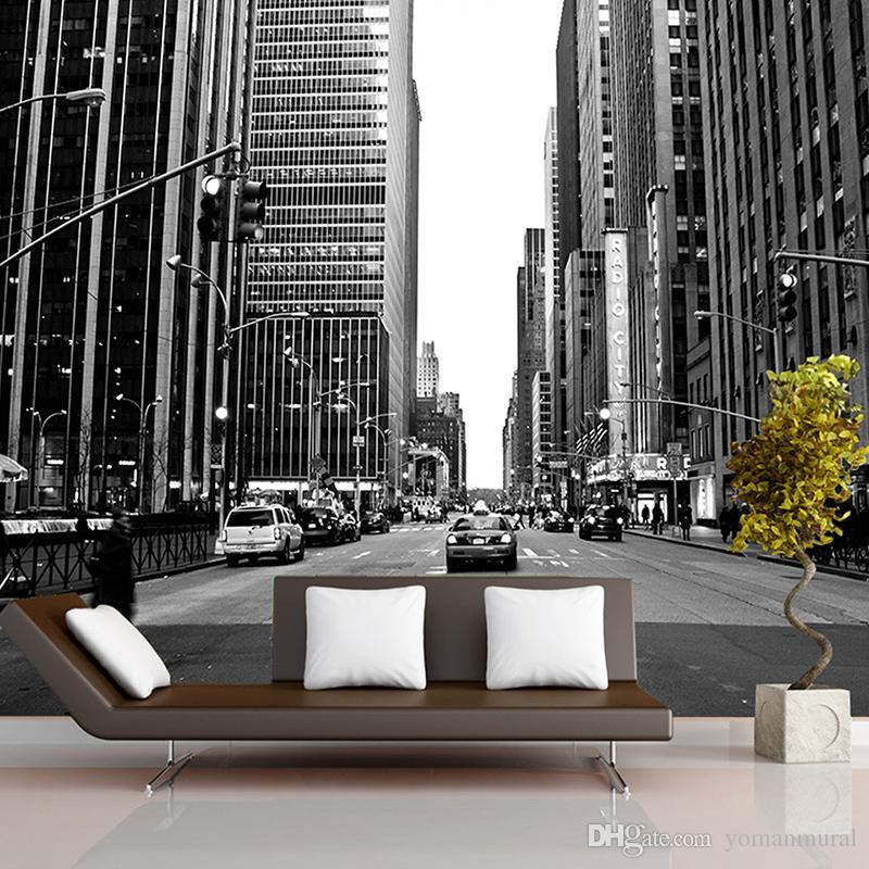Foto Murales New York.Murale 3d New York Ville Nuit Scene Grandes Peintures Murales Tv Tv Toile De Fond Canape Chambre Fond Mur Papier Peint