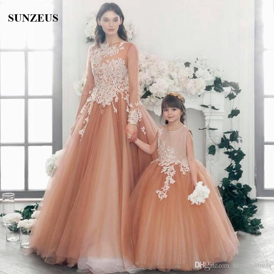Mother Daughter Dress Puffy Tulle Long Sleeve Evening