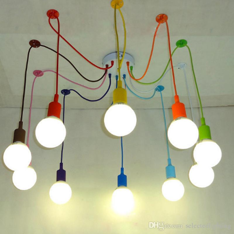 Colorful pendant lamp e27 spider ceiling pendant lighting edison colorful pendant lamp e27 spider ceiling pendant lighting edison bulb light 220v 110v christmas lighting silicon lamps for home decor industrial pendant aloadofball Images