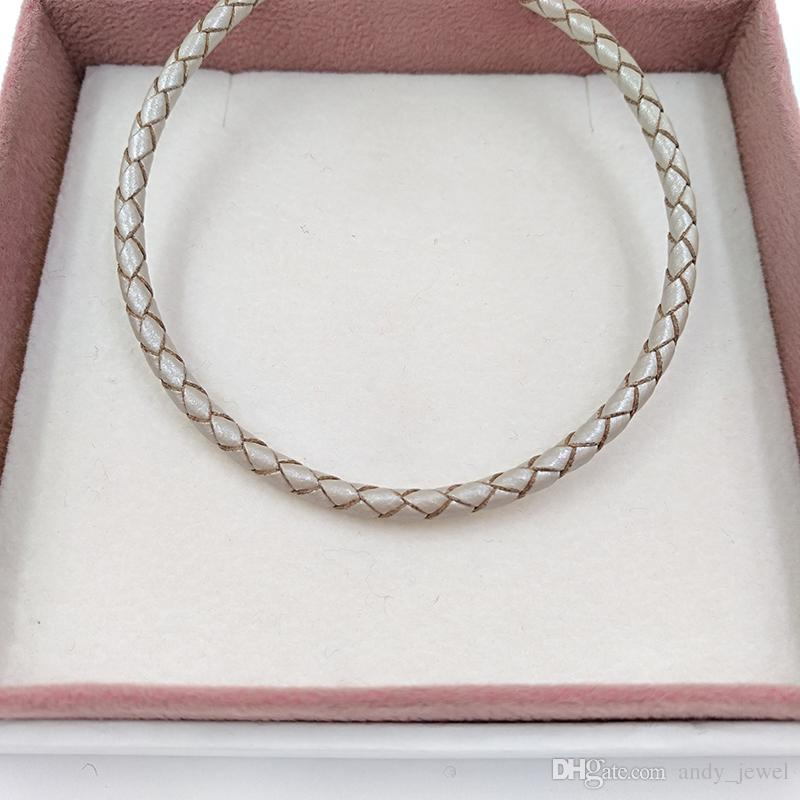 Autentico 925 momenti in argento sterling 925 braccialetto in pelle singolo - perla adatta perline gioielli in stile Pandora europeo perline 590705CPL-D