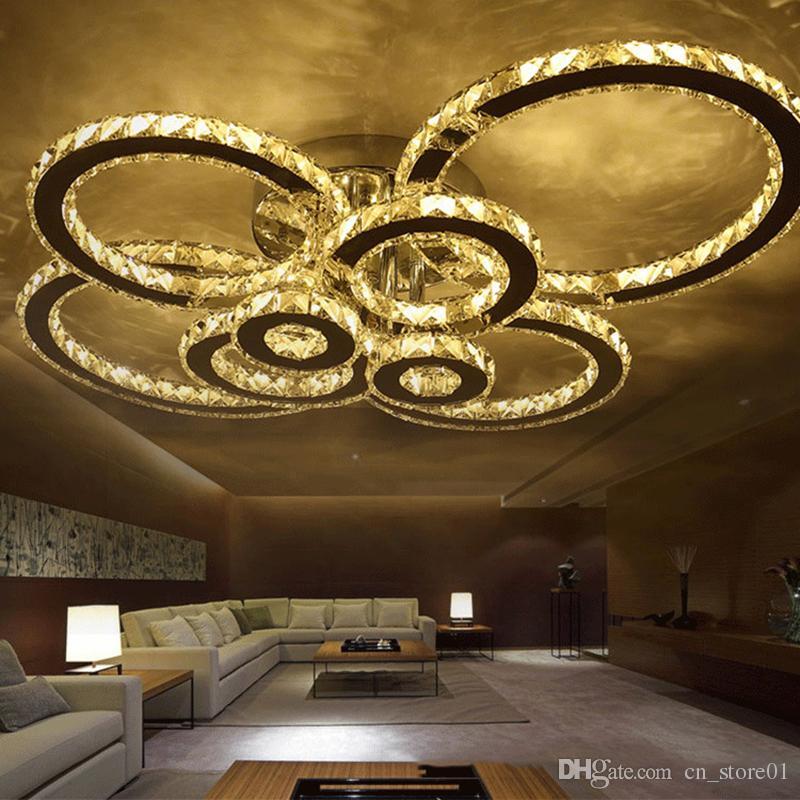 Moderne led kristall kronleuchter licht runde kreis bündig kronleuchter lampe wohnzimmer lüster für schlafzimmer esszimmer