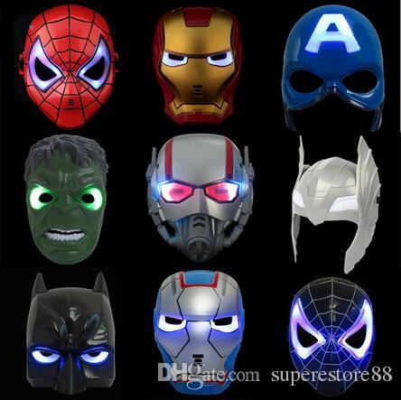 Светодиодная вспышка Маска дети Хэллоуин маски светящийся освещение Маска Мстители Халк Капитан Америка Бэтмен Железный Человек-Паук партия Маска свободный корабль